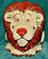 VINTAGE ROYAL HEAGER BIG HEAD LION POTTERY PLANTER / VASE SAND & GLAZE TOO CUTE
