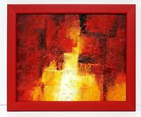 Abstract Vivid Bright Red Hues 16 x 20 Oil Painting on Canvas w/Custom Frame
