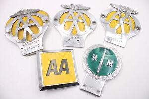 5 x Assorted Vintage Automobilia Car Grille Badges Inc Royal Marines, AA, Enamel