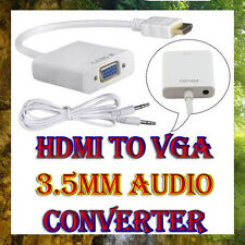 HDMI to VGA female Video Converter Box Adapter + AV Audio Cable For PC PS3 HD TV