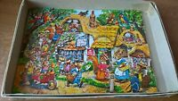 Vintage Wooden Jigsaw puzzle Rabbits family Post office village stores playtime