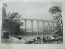 ANTIQUE PRINT 1854 ENGRAVING VIADUCT ON BALTIMORE AND WASHINGTON RAILROAD PRINT