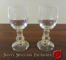 TWO Winnie The Pooh Walt Disney Company Clear & Amber Wine Glasses Stems