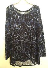 Tru Self Black Blue Leopard Print Sequins Patch Elbows Long Sleeve Tunic Top 1X