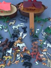 Two Vintage Hard Plastic Noah's Arks & Animals Arco ? 70's Toy REVISED