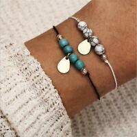 2Pcs/Set Women Turquoise Beads Drop Adjustable Open Bangle Bracelets Jewelry