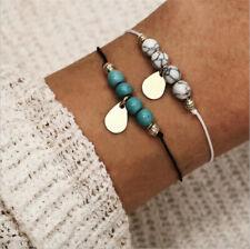 Fashion Women 2Pcs Turquoise Metal Drop Adjustable Open Bangle Bracelet Jewelry
