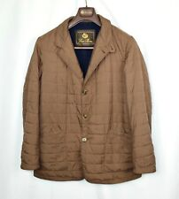 Loro Piana Blazer Coat Brown Quilted 100% Cashmere Lined Jacket Leather M Medium