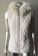 Real Fox Fur Collar diamond Quilted Beige Vest Jacket Coat Size Small