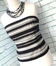 COAST Black & White Striped Corset Top Sz 14 UK Boned Strapless Silk Trim / b17