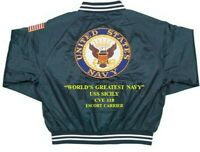 USS SICILY CVE-118  NAVY CARRIER DELUXE EMBROIDERED 2-SIDED SATIN JACKET