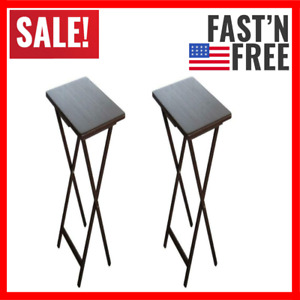 2 Pack Folding TV Tray Table Set In Walnut Durable For Any Snacks Coffee Food