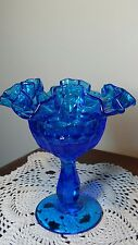 "6"" Tall Blue Ruffled Glass Compote Thumb Print Design Centerpiece"