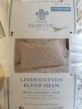 SHAM SHABBY CHIC STANDARD WHITE HAND STITCHED QUILTED CROCHET LINEN COTTON BLEND