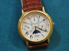 Nice PULSAR V33F Gold Tone Triple Date Day Moon Phase Men's Watch