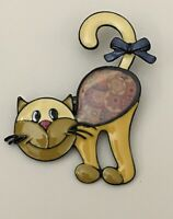 Adorable  Cat  large Brooch Pin in enamel on Metal