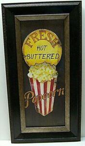 "Popcorn Sign Fresh Hot Buttered Popcorn Framed 26"" X 13"" Excellent Condition"