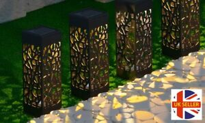 GloBrite 4 Pack LED Solar Powered Hollow Pathway Lights Outdoor Garden