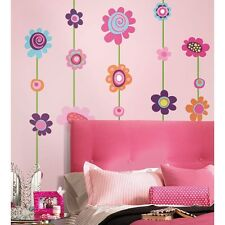 FLOWER STRIPE GiaNT WALL DECALS BiG Flowers Stickers NEW Girls Floral Deco Decor
