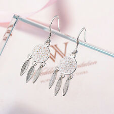 Silver Plated Bohemia Feather Dream Catcher Dreamcatcher Drop Earrings For Women