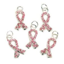 Lot of 36 Metal Pink Ribbon Breast Cancer Awareness Charms With Rhinestones