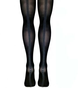 Rope Patterned  Back Seam Fine Micronet Tights Black S/M & M/L