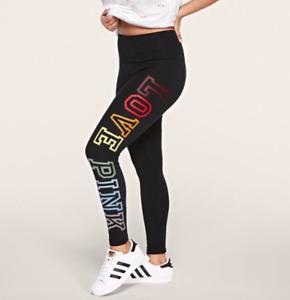 Victoria Secret PINK Leggings New Cotton High Waist Full Length Black Rainbow