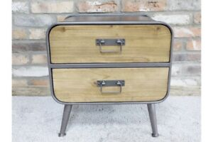 Small Retro Industrial 2 Drawer Cabinet- Reclaimed Wood & Metal