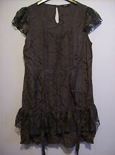 Dress Ladies Charcoal Grey With Pin Tucks & Lace UK Size 10 EUR 38 Viscose Nylon