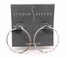 STUDIO SILVER Silvertone Hammered Hoop Earrings With Hinged Earwire Clasp