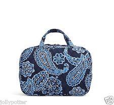 VERA BRADLEY Grand Cosmetic BLUE BANDANA Makeup Bag Purse Tote Lined Travel $42