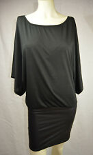 VENUS Womens Size S Black Dress Faux Leather Batwing Stretch USA #12-29