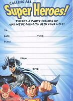 10 PARTY INVITATIONS JUSTICE LEAGUE SUPERMAN,BATMAN,THE FLASH -BIRTHDAY INVITES