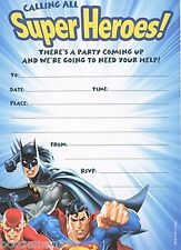 10 Inviti Party JUSTICE LEAGUE SUPERMAN, BATMAN, il flash-COMPLEANNO INVITI