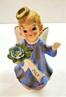 Vintage Lefton Porcelain JULY Birthday Girl Angel with Blue Floral Figurine