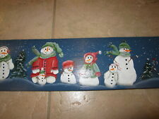 SMALL HAND PAINTED WOODEN TOLE PAINTED PLAQUE MOTIF DIFFERENT CHRISTMAS SNOWMEN