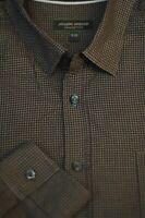 Joseph Abboud Men's Brown Wicker Weave Cotton Casual Shirt XL XLarge