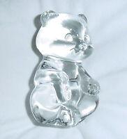 FENTON CRYSTAL VINTAGE CLEAR GLASS SITTING BEAR PAPERWEIGHT CUTE OVAL LOGO EUC