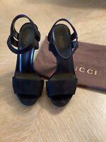 Gucci Black Suede Open Toe Multi Side Heel Sandal 💕