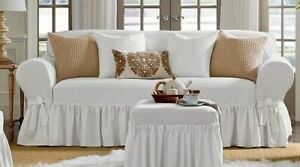 SURE FIT Essential Twill One Piece Ruffled Box Cushion Loveseat Slipcover white
