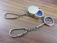 Set Of Two Brass Pocket Magnifier Antique Vintage Keychain Magnifying Glass