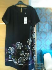 NEW Next tailoring black with floral design shift dress....size 16 ...rp £36