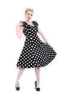 1950's Vintage Classic Big Polka Dot Shawl Collar Rockabilly Tea Dress New 8-18