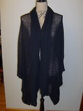 CHICO'S Knit Wrap Cardigan Cape NWOT M/L Black