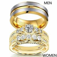 Yellow Gold Filled Couple Rings Tungsten Mens Band CZ Womens Wedding Ring Sets