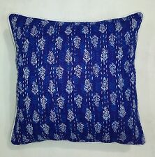 Indigo Blue Kantha Decor Pillow Cover Cushion Throw Sofa Indian Bohemian 5 Pc Se