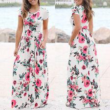Women Long Casual Beach Round Neck Short Sleeve Floral Pattern Dress Plus Size
