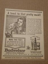 1937 Anhueser Busch Budweiser Newspaper Ad Toast To The Pretty Maid