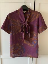 Tucker Printed Scarf Shirt Blouse Size Small