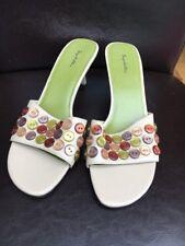 Seychelles Natural Button Detail Size 8 Mule Sandals Heels <T13724